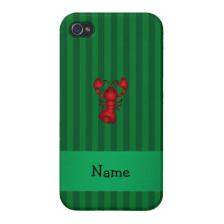 Personalized name lobster green stripes iPhone 4 cases