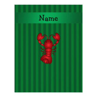 Personalized name lobster green stripes letterhead template