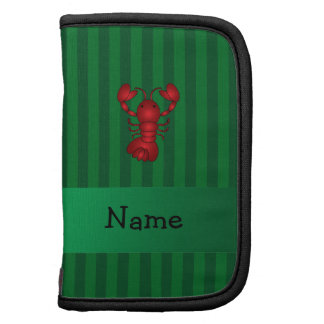 Personalized name lobster green stripes organizer