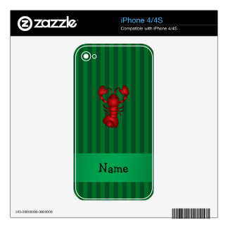 Personalized name lobster green stripes decal for iPhone 4S