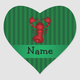 Personalized name lobster green stripes heart sticker
