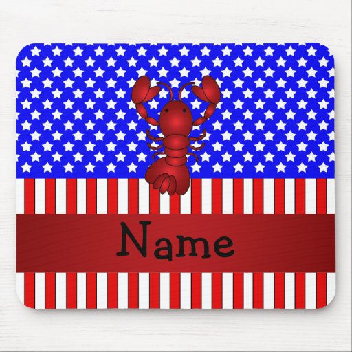 Personalized name lobster patriotic mouse pad