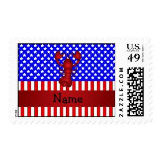 Personalized name lobster patriotic postage stamp