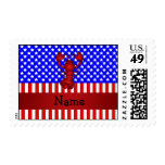 Personalized name lobster patriotic postage stamp