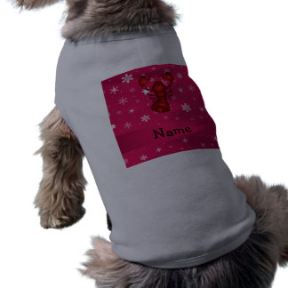 Personalized name lobster pink snowflakes pet tee