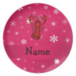 Personalized name lobster pink snowflakes dinner plate