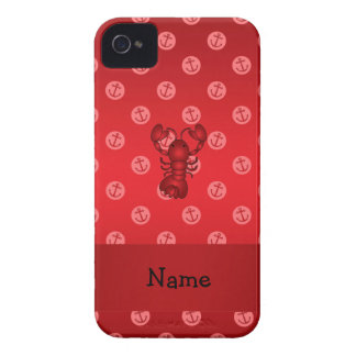 Personalized name lobster red anchor polka dots Case-Mate iPhone 4 case