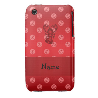 Personalized name lobster red anchor polka dots iPhone 3 Case-Mate case