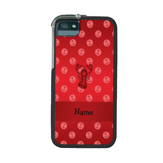 Personalized name lobster red anchor polka dots iPhone 5/5S cover