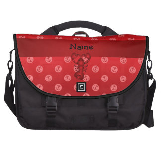 Personalized name lobster red anchor polka dots laptop commuter bag