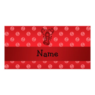 Personalized name lobster red anchor polka dots photo card