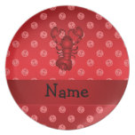 Personalized name lobster red anchor polka dots plate