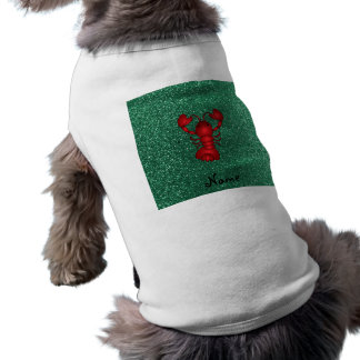 Personalized name lobster red mint green glitter pet tee shirt