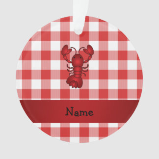 Personalized name lobster red picnic checkers