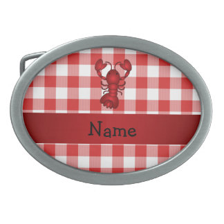 Personalized name lobster red picnic checkers belt buckle