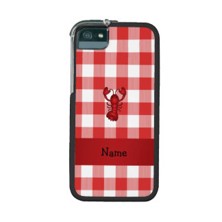 Personalized name lobster red picnic checkers iPhone 5/5S case