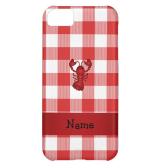 Personalized name lobster red picnic checkers iPhone 5C case
