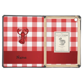 Personalized name lobster red picnic checkers iPad air case