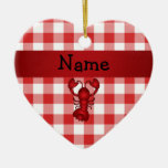 Personalized name lobster red picnic checkers ceramic ornament