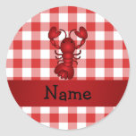 Personalized name lobster red picnic checkers classic round sticker