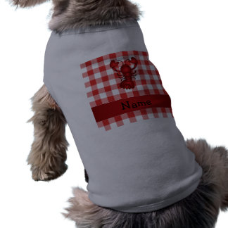 Personalized name lobster red picnic checkers dog t shirt