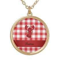 Personalized name lobster red picnic checkers gold plated necklace
