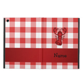 Personalized name lobster red picnic checkers iPad air cover