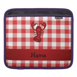 Personalized name lobster red picnic checkers iPad sleeve