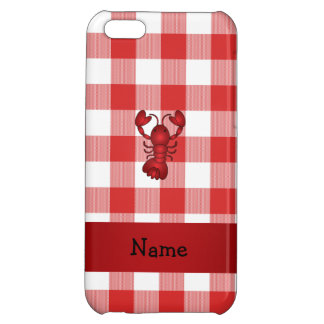 Personalized name lobster red picnic checkers iPhone 5C covers