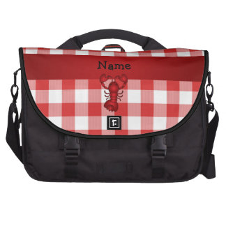 Personalized name lobster red picnic checkers laptop computer bag