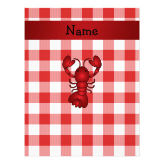 Personalized name lobster red picnic checkers customized letterhead
