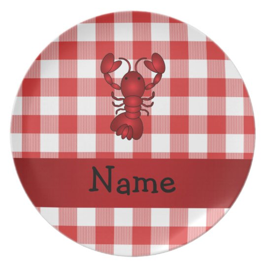 Personalized name lobster red picnic checkers melamine plate