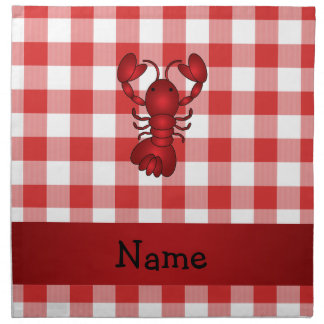 Personalized name lobster red picnic checkers napkin