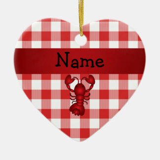 Personalized name lobster red picnic checkers christmas ornament