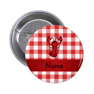 Personalized name lobster red picnic checkers pinback button
