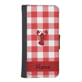 Personalized name lobster red picnic checkers iPhone 5 wallets