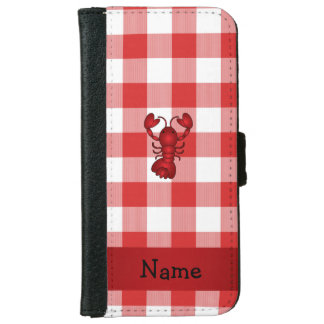 Personalized name lobster red picnic checkers iPhone 6 wallet case