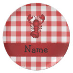 Personalized name lobster red picnic checkers party plate