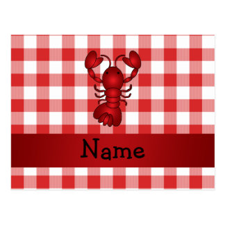 Personalized name lobster red picnic checkers postcard