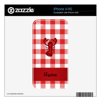 Personalized name lobster red picnic checkers skin for the iPhone 4S