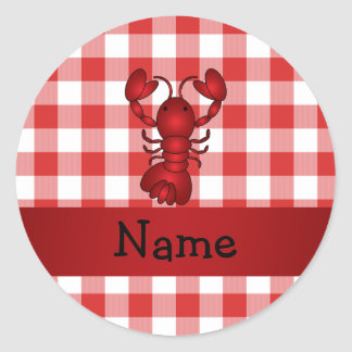 Personalized name lobster red picnic checkers stickers