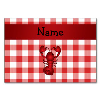 Personalized name lobster red picnic checkers table cards
