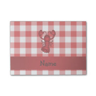 Personalized name lobster red picnic checkers post-it® notes