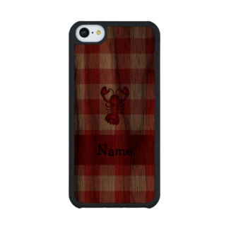 Personalized name lobster red picnic checkers carved® walnut iPhone 5C case