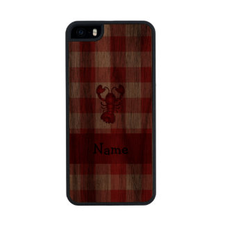 Personalized name lobster red picnic checkers carved® walnut iPhone 5 slim case