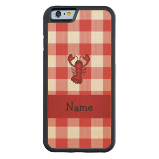 Personalized name lobster red picnic checkers carved® maple iPhone 6 bumper