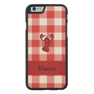 Personalized name lobster red picnic checkers carved® maple iPhone 6 slim case