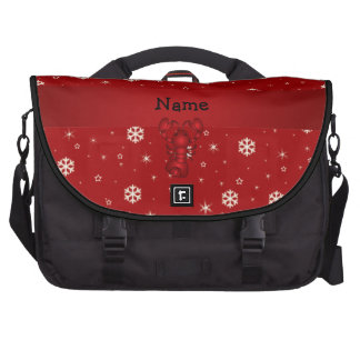 Personalized name lobster red snowflakes bag for laptop