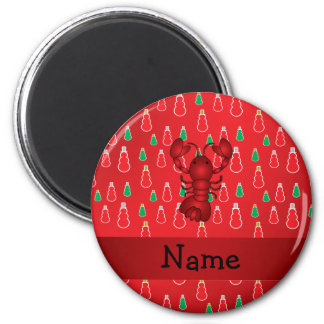 Personalized name lobster red snowmen 2 inch round magnet