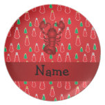 Personalized name lobster red snowmen party plate
